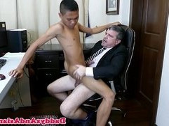 Asian twink blows his american boss