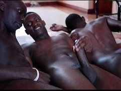 Three black african twinks cum together