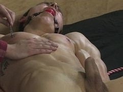 BDSM nipple play slave boy