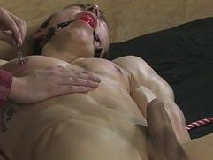 BDSM nipple play slave boy