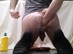 Young hairy guy self fisting and punching