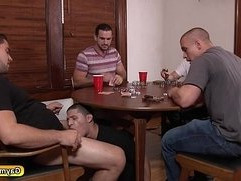Three gay dicks plow Tino Cortez asshole